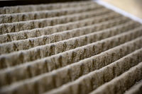 Dirty clogged air filter causing reduced performance and efficiency of the hvac system